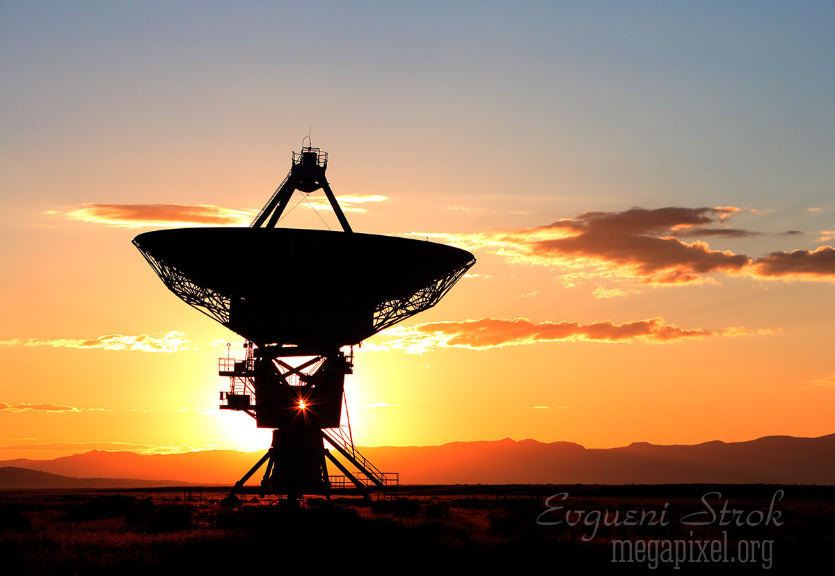 Sunrise at the very large array Radio telescope. New Mexico