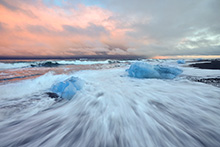 Jokularlon Iceland, Glacier Ice on Black sand Beach 2