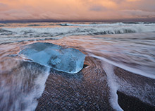 Jokularlon Iceland, Glacier Ice on Black sand Beach 3